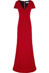 Victoria Beckham Cutout Silk And Wool Blend Crepe Gown Red