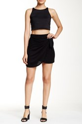 Hip Knit Faux Wrap Tie Front Mini Skirt Black