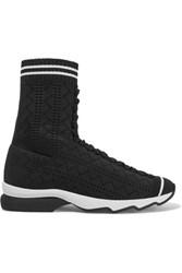Fendi Perforated Stretch Knit Sneakers Black