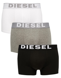 Diesel Cotton Stretch Trunks In 3 Pack Whitegreyblack