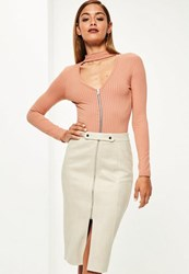 Missguided Cream Faux Suede Tab Detail Front Midi Skirt Cream