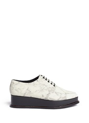 Opening Ceremony 'Eleanora' Wedge Platform Marble Print Leather Oxfords White