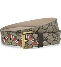Gucci Snake Gg Supreme Canvas Belt Tan Multi