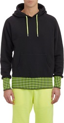 Christopher Kane Checkerboard Cuff And Hem Hoodie Black Size L