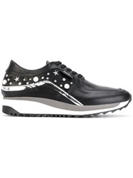Karl Lagerfeld Embellished Sneakers Leather Rubber Black
