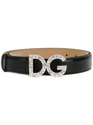Dolce And Gabbana Logo Buckle Belt Women Leather 85 Black