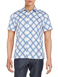 Perry Ellis Printed Cotton Sportshirt Bright White
