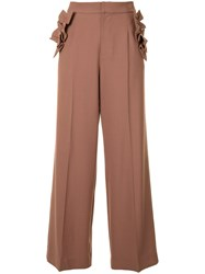 Muveil Ruffled Detailing Flared Trousers Brown