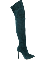 Casadei Knee High Stiletto Boots Green
