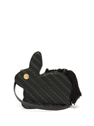 Hillier Bartley Bunny Striped Lizard Effect Leather Bag Black Green