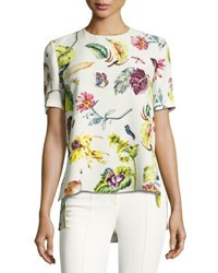 Adam By Adam Lippes Short Sleeve Floral Print Top Multi Multi Pattern