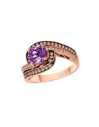 Le Vian Vanilla Diamond Chocolate Diamond Amethyst And 14K Rose Gold Ring Purple