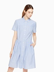 Kate Spade Stripe Poplin Swing Shirtdress Fresh White Sound Blue