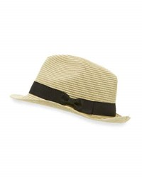 John Varvatos Straw Fedora W Ribbon Band Black