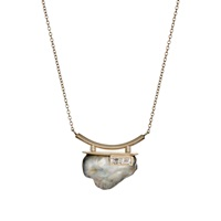 Baguette Diamond And Tahitian Pearl Pendant Necklace