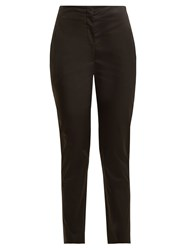 The Row Vivienne High Rise Slim Leg Cotton Trousers Black