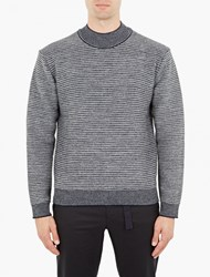 Wooyoungmi Grey Jacquard Mock Neck Sweater