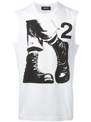 Dsquared2 Punk Boots Sleeveless T Shirt White