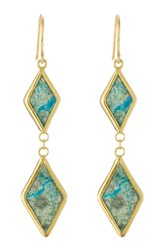 Pippa Small Gold Plated Silver Earrings With Chrysocolla Stones Gr. One Size