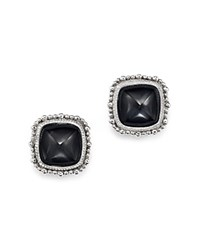 Judith Ripka Rapture Cabochon Stud Earrings With Rock Crystal Quartz And Hematite Doublets Black Silver