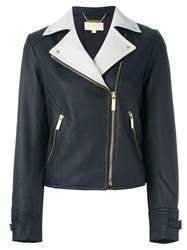 Michael Michael Kors Zipped Pocket Biker Jacket Blue