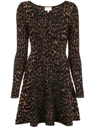 Milly Leopard Print Skater Dress Brown
