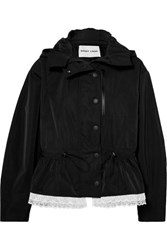Sandy Liang Cosmo Lace Trimmed Canvas Parka Black