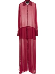 Andrea Bogosian Sheer Gown Red