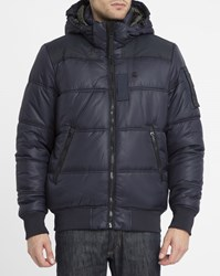 G Star Navy Whistler Hdd Bomber Removable Hood Down Jacket Blue