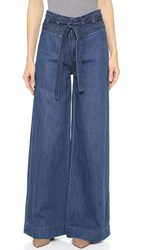 Free People Augusta Clean Belted Flare Jeans Maytal Blue