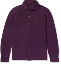 Rubinacci Slim Fit Cotton Pique Shirt Plum