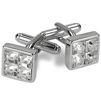 A Z Collection Silver Plated Jeweled Cufflinks