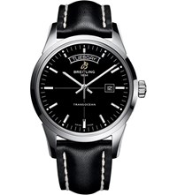 Breitling Transocean Stainless Steel And Leather Watch