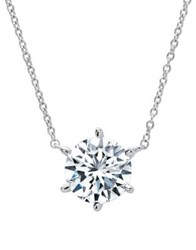 Crislu Classic Pave Crystal Platinum And Sterling Silver Solitaire Necklace