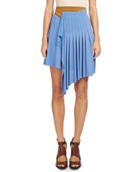 Atlein Pleated Wrap Waist Skirt Blue Orange Blue Orange