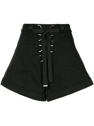 Self Portrait Lace Up Wide Leg Shorts Black