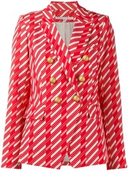 Veronica Beard Geometric Fitted Blazer Red