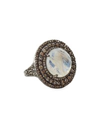 Bavna Rainbow Moonstone And Champagne Diamond Round Cocktail Ring Size 7