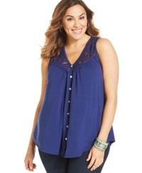 Eyeshadow Plus Size Sleeveless Lace Trim Blouse