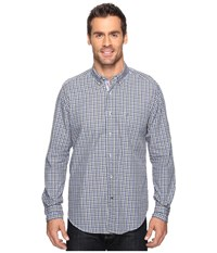 Nautica Long Sleeve Small Plaid With Pocket French Blue Men's Clothing