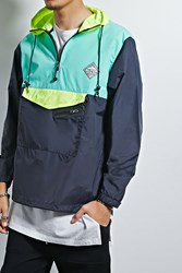 Forever 21 All Good Colorblock Anorak Black Teal