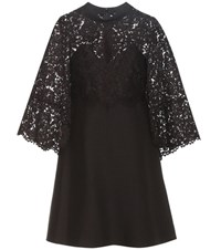 Valentino Virgin Wool And Silk Cape Dress With Lace Black