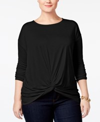 Inc International Concepts Plus Size Knotted Top Only At Macy's Deep Black