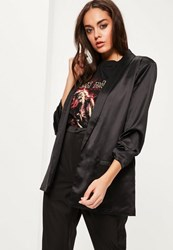 Missguided Black Gathered Sleeve Satin Longline Blazer