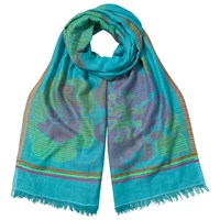 East Flower Stripe Cotton Mix Scarf Turquoise