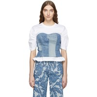 Junya Watanabe White And Indigo Denim Corset T Shirt