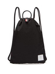 Thom Browne Logo Patch Drawcord Backpack Black