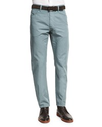 Ermenegildo Zegna Five Pocket Cotton Linen Pants Teal Blue
