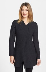 Eileen Fisher Women's Asymmetrical Boiled Merino Wool Jacket Charcoal