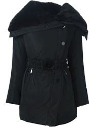 Emporio Armani Rabbit Fur Collar Padded Coat Black